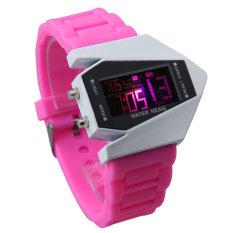 Cool Men Airplane Pilot LED Flashlight Alarm Rubber Strap Sport Watch (Pink)