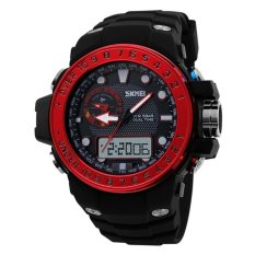 Cool Mens Outdoor Sport Multifunction Rubber Band Analog Digital LED Military Army Wrist Watch - Red