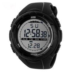Cool Waterproof Glow Dark LED Digital Wrist Watch Band Men Sport Black (Intl)