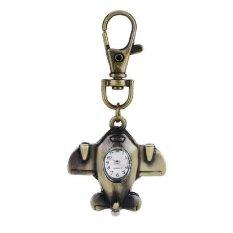 Created Women's / Men Retro Bronze Dial Airplane Shaped Watch Vintage Distinctive Fashion Pocket Precise Key Ring (Intl)