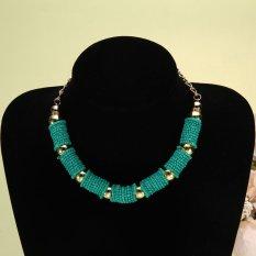 Crystal Choker Chunky Statement Bib Knit Necklace Charm Chain Blue (Intl)