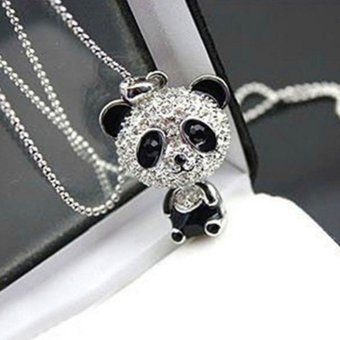 Crystal Rhinestone Moving Head Panda Pendant Sweater Necklace Chain Gift - Intl
