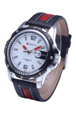 Curren 8104 Brand Luxury Wristwatches Men Military Leather Sports Watch Auto Date Red Belt White Surface (Intl)