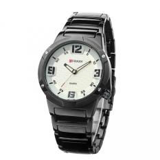 Curren 8111 Men's Round Dial Analog Watch with Tungsten Steel Strap (Black / White) (Intl)