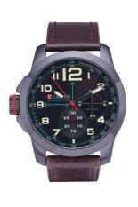 Curren 8182B Luxury Brand Quartz WristWatch Leather Strap Waterproof Quartz Watch Black Shell Green Word (Intl)