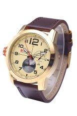 Curren 8182B Luxury Brand Quartz WristWatch Leather Strap Waterproof Quartz Watch Gold (Intl)