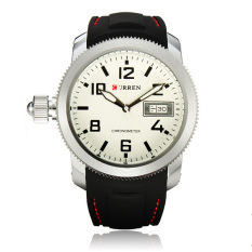 Curren Men Black Silicone Strap Waterproof Analog Watch 8173