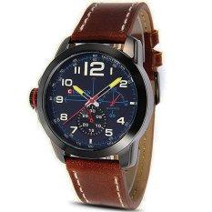 Yika New Men's Analog Quartz Date Sport Army Black Stainless Steel Wrist Watch (Light Brown Strap + Blue Word) (Intl)