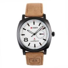 Yika Yika Men's Leather Strap Wrist Army Style Watch (White) (Intl)