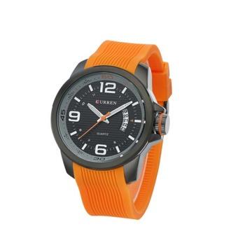 Curren Waterproof Men Orange Silicone Quartz Watch 8174