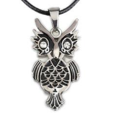 Cute Owl Crystal Pendant Necklace Boy Girl Jewelry Unisex Gun Black