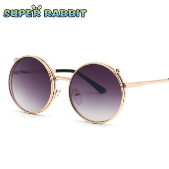Cute Retro Children Sunglasses Round Frame Sunglasses Double Lens Clamshell Glasses-C5 Gold / Gradient Gray - intl
