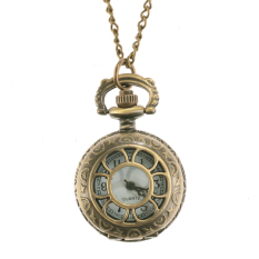 Cyber Bronze Steampunk Quartz Necklace Pendant Chain Clock Pocket Watch (Flower)