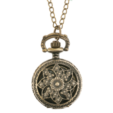 Sunweb Bronze Steampunk Quartz Necklace Pendant Chain Clock Pocket Watch (Lotus)
