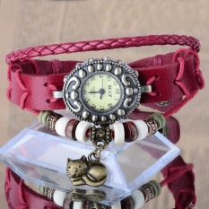 Cyber New Fashion Synthetic Leather Women's Analog Watch Lady Bracelet Vintage Style Wristwatch with Kitten Cat Pendant (Red)