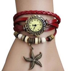 Sunwonder Quartz Weave Wrap PU Leather Star Pendant Bracelet Wrist Watch (Red) (Intl)