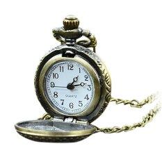Cyber Retro Steampunk Quartz Necklace Pendant Chain Pocket Watch (Brown) (Intl)
