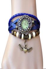 Cyber Women's Vintage Bronze Angel Heart Weave Wrap Synthetic Leather Bracelet Wrist Watch (Blue)