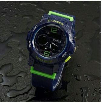 D-ziner D-63H20 Dual Time Jam Tangan Wanita Rubber Strap (BIRU)