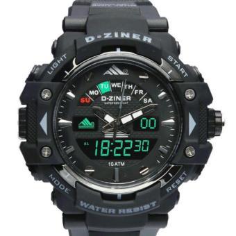 D-ziner DZ9900DS Dual Time Jam Tangan Pria Rubber Strap - Hitam