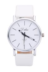 Dalas JD302 Fashion Vintage Women Simple Design Leather Strap Quartz Wristwatches (White)