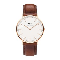 Daniel Wellington Classic St Mawes 40MM Rose Gold - Jam Tangan Pria/Laki-Laki - Cokelat Muda Rose Gold Ring