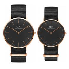 Daniel Wellington Couple Set Classic Black Cornwall 40mm & 36mm Rose Gold - Jam Tangan Couple/Pasangan - Strap Nylon Hitam - Ring Rose Gold