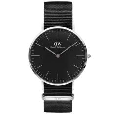 Daniel Wellington DW00100149 Jam Tangan Pria Wanita Black Cornwall Horloge 40MM Men Women Genuine Nylon Watch - Black Silver