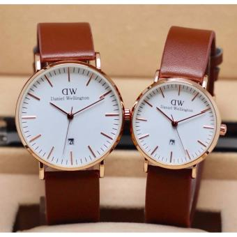 Daniel Wellington Jam Tangan Couple Pria / Wanita - Leather Satrap -Body Rose Gold