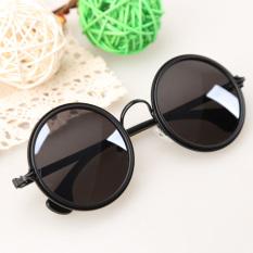 Dekorasi bergaya retro kacamata hitam bulat bundar untuk perempuan gadis mate Hitam
