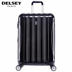 Delsey Helium Aero 81cm 4Wheels Glossy Large Hard Case Trolley - Hitam