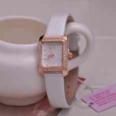 Diamond Imitation Rectangle Case Women Dress Watch 18K Gold Plating Water Resistant Relojes PU Leather Strap Wristwatch