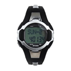 Digital Waterproof Pedometer Calories Counter Heart Rate Monitor Sport LED Watch Silver