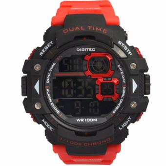 Digitec Men's DG3007RE - Jam Tangan Pria Sport Watch - Strap Resin - Merah