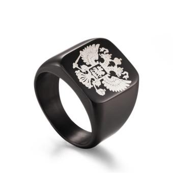 Dipoles hitam Stainless Steel Band cincin elang lambang geng motorRusia Signet Ring untuk pria - International