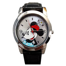 Disney Women / Girl's Watch Minnie Mouse Black Genuine Leather Strap MN1277 - Intl