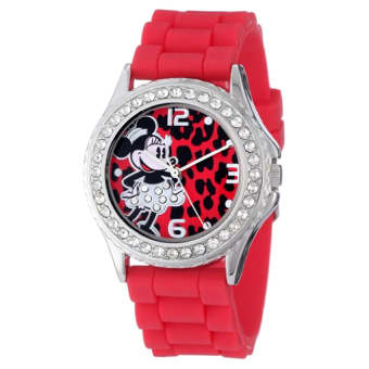 Disney Women's MN1055 Rhinestone Accent Minnie Mouse Red Rubber Strap Watch - Intl