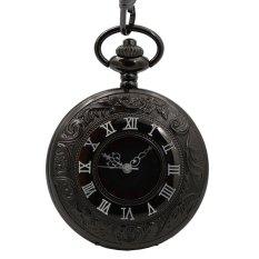 Double Roman Number Half Hunter Black Dial Japan Quartz Movement Mens Pocket Watch Fob