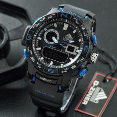 Dziner Dual Time - Jam Tanga Sport Pria - Rubber Strap - DZ 3144 Dual Time