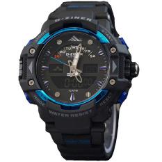 Dziner Dual Time - Jam Tangan Sport Pria - Rubber Strap - DZ8078 Blue