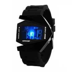 LED Light Digital Sports Quartz Silicone Wristwatches (Black) (Intl)