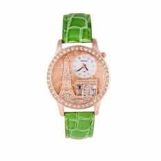 Eiffel Tower House Watch Leisure Lady Leather Diamonds Watch - intl