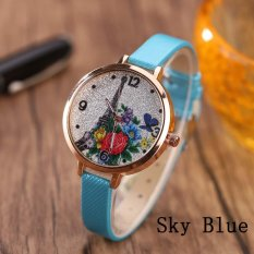 Eiffel Tower Leather Girls Leisure Dress Watch Women's Fashion Quartz Analog Wrist Watches - sky blue - intl