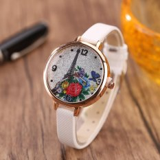 Eiffel Tower Leather Girls Leisure Dress Watch Women's Fashion Quartz Analog Wrist Watches - white - intl