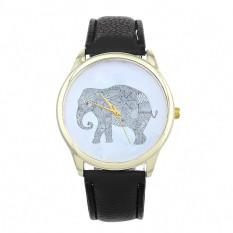 Elephant Women Printing Pattern Weaved Leather Quartz Dial Watches Black (Intl)