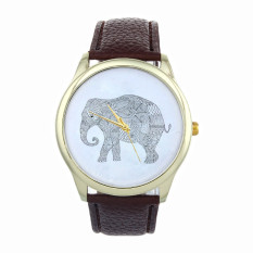 Elephant Women Printing Pattern Weaved Leather Quartz Dial Watches Brown (Intl)
