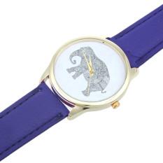 Elephant Women Printing Pattern Weaved Leather Quartz Dial Watches Dark Blue (Intl)