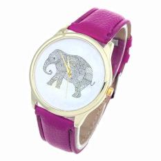 Elephant Women Printing Pattern Weaved Leather Quartz Dial Watches Purple (Intl)