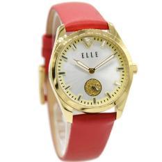 Elle 20393S03C Jam Tangan Wanita Leather Strap Merah Ring Gold