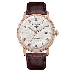 Elysee Male Watches Monumentum Automatic Jam Tangan Pria - Putih - Strap Leather - 77005